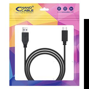 Nanocable 3.1 Gen2 10Gbps 3A, tipo USB-C/M-A/M, negro, 1.5 m