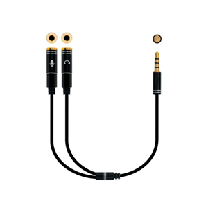 Nanocable Cable adaptador Audio Jack 3.5/M 4pines - 2xJack 3.5/H 3pines, negro, 30 cm