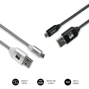 SUBBLIM PACK 2 CABLES USB A MICRO USB (2.4A) 1M BLACK/SILVER