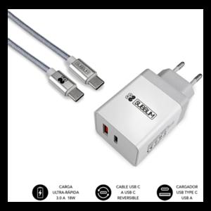 SUBBLIM CARGADOR ULTRA RAPIDO 2xUSB DE PARED PD18W+2.4A + Cable C to C Blanco