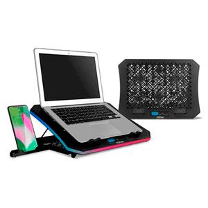 """Krom Kooler - RGB - HUB USB- (19"""") ventiladores de 2100 RPM - Negro - Base refrigeracion portatil"""