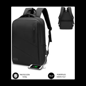 "SUBBLIM City Backpack Mochila para portátil 15.6"", Poliéster Oxford, Negra"