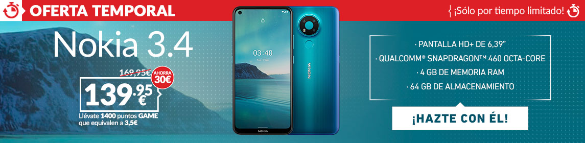 ¡Oferta! Nokia 3.4 por 134,95€