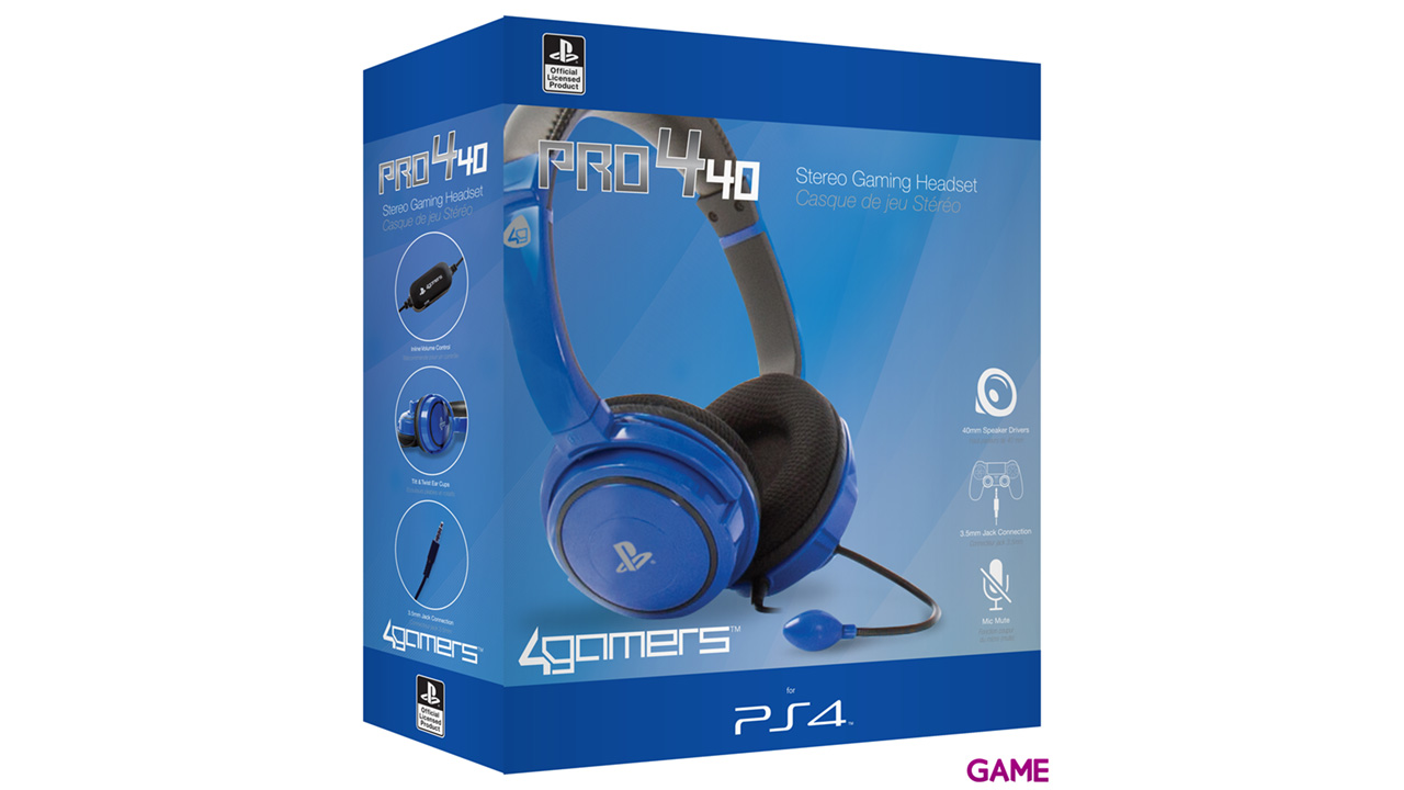 Auriculares 4Gamers Pro4-40 Azul -Licencia oficial Sony-