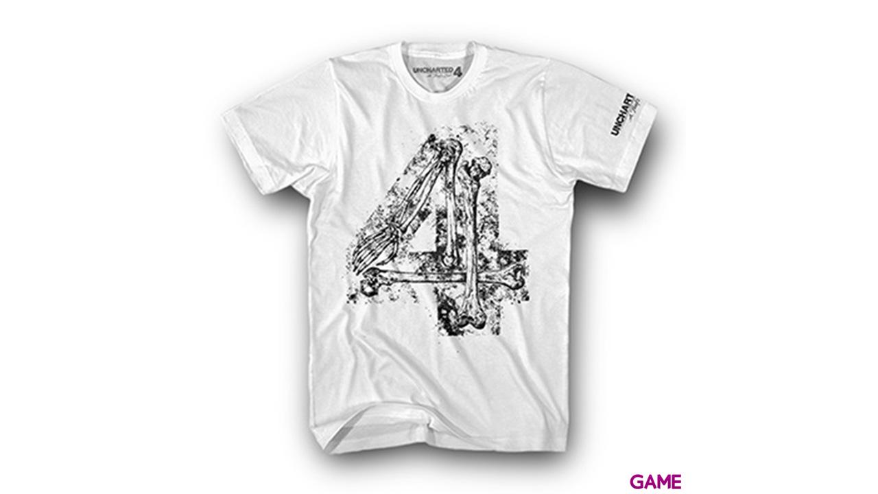 Camiseta Uncharted 4 Blanca Bones Four Talla M