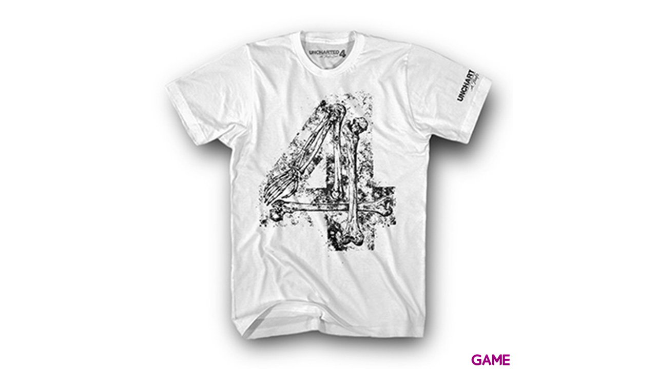 Camiseta Uncharted 4 Blanca Bones Four Talla L