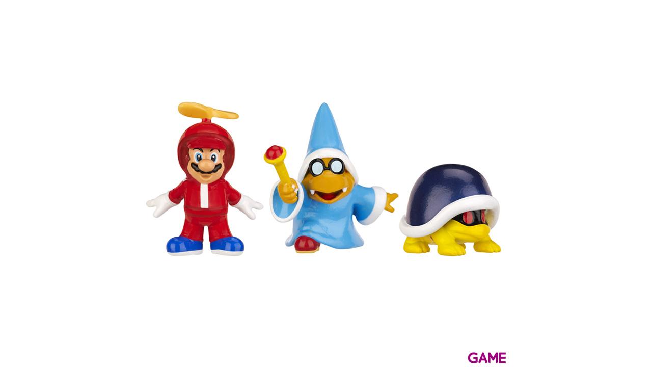 Pack de 3 Figuras 2cms Nintendo: Propeller Mario, Kamek y Buzzle