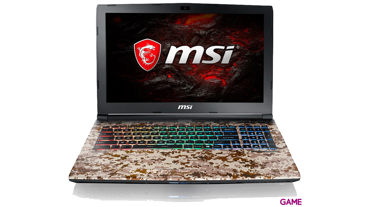 MSI GE62 7RE-688XES - i7-7700 - GTX 1050Ti - 16GB - 1TB HDD + 256GB SSD - 15.6'' - FreeDOS - Camo Squad