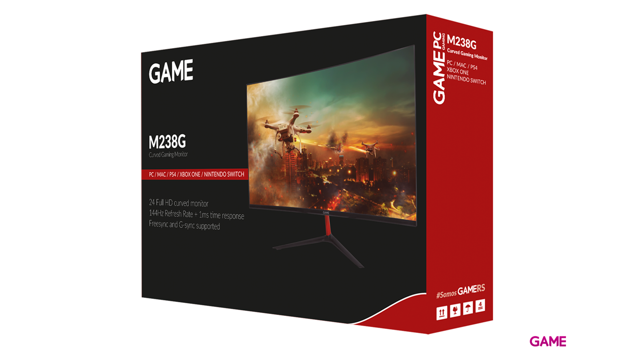 GAME M238G 24'' VA FHD 144Hz Curvo Freesync - G-SYNC Comp. - Monitor Gaming