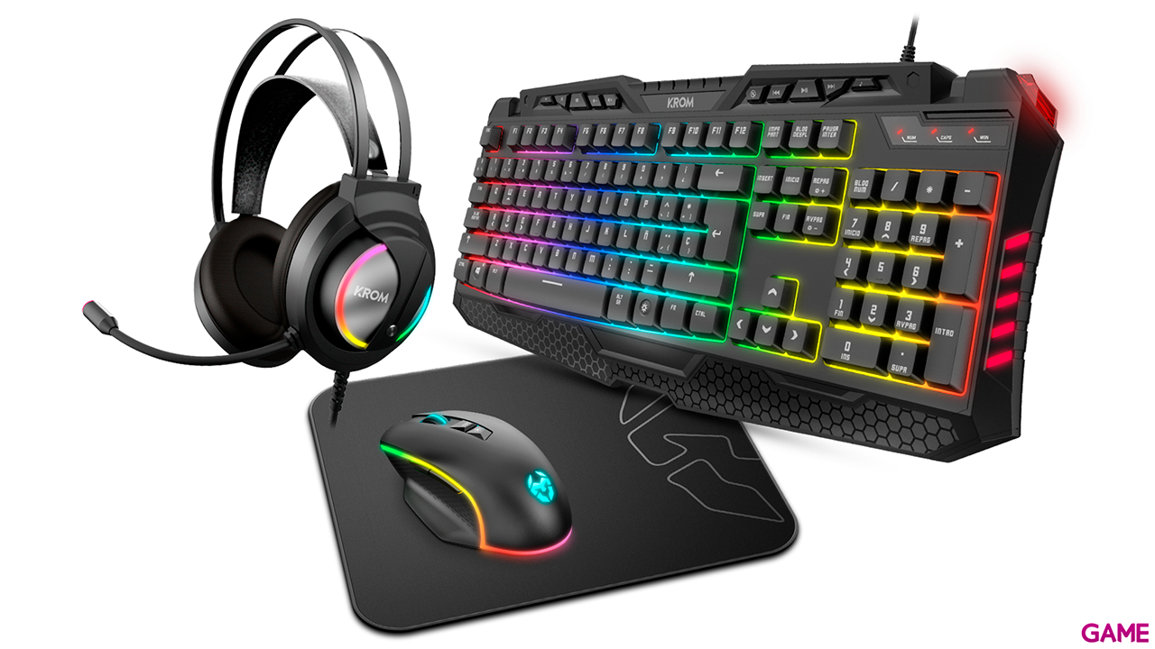 KROM Kritic RGB Teclado+Ratón+Alfombrilla+Auriculares - Pack Gaming