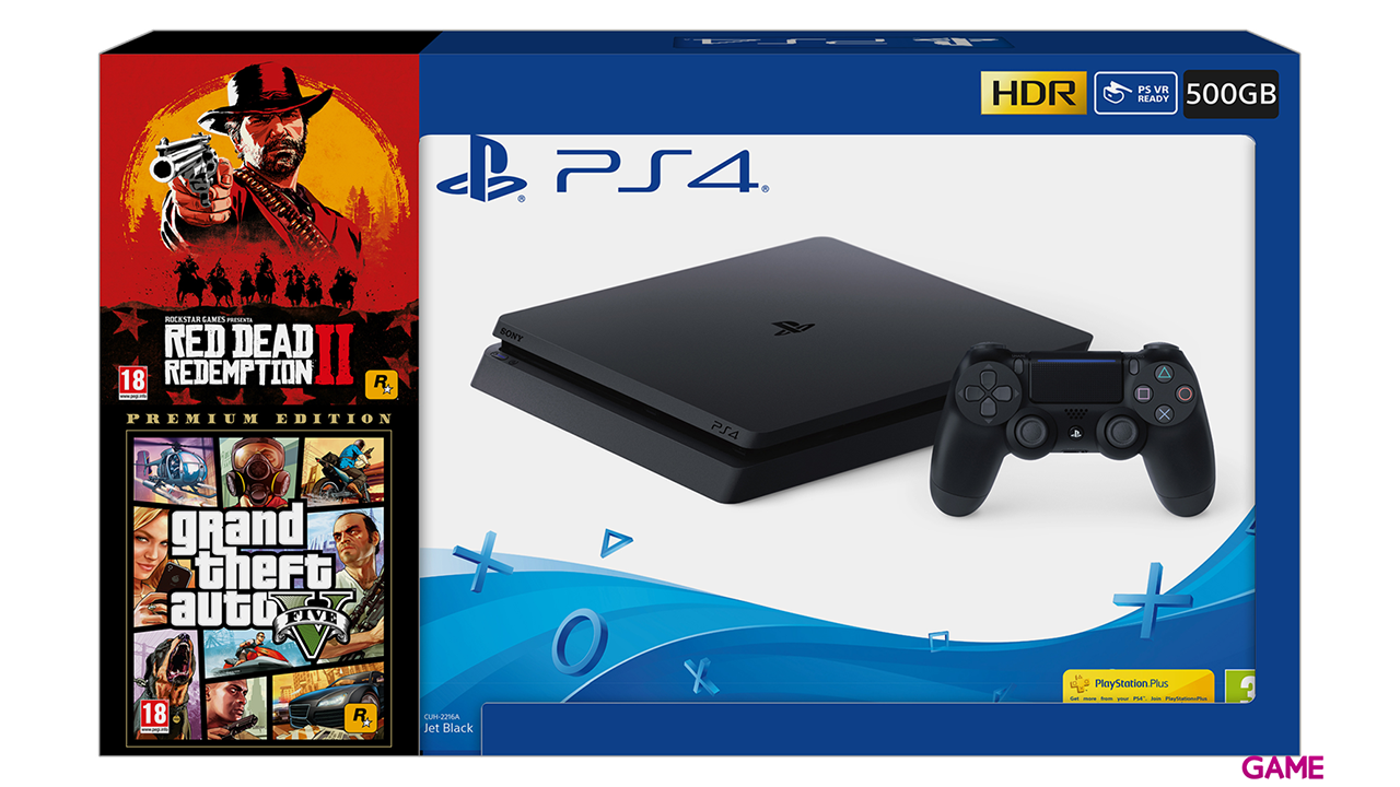 Playstation 4 500Gb + GTA V + Red Dead Redemption II