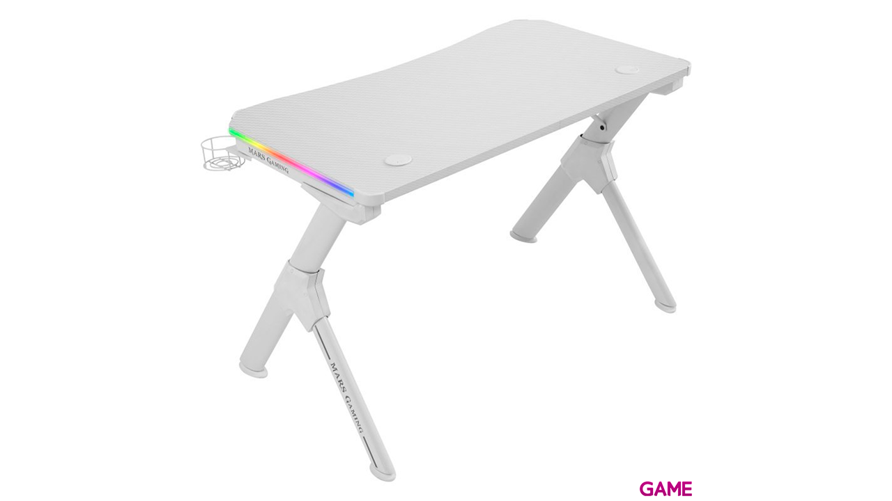 MARSGAMING MGD GAMING DESK- CARBON FIBER- HEADSET & CUP HOLDER- CABLE GUIDE- WHITE - Mesa Gaming