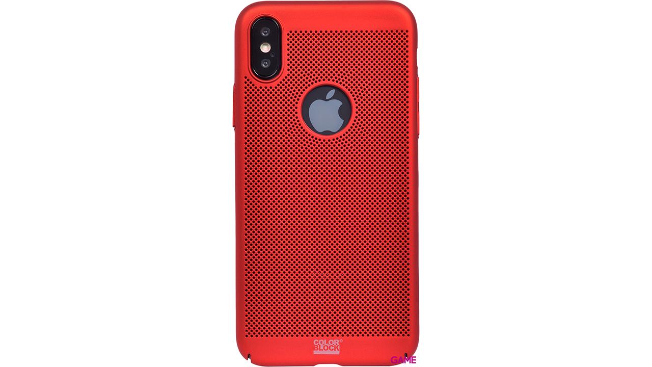 Carcasa rígida perforada metálica roja para IPHONE X/XS