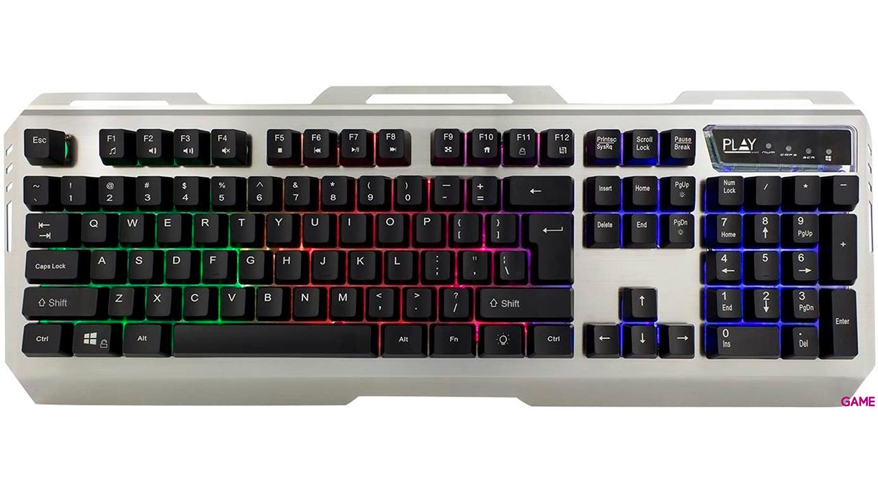 Ewent PL3312 teclado USB QWERTY Español Negro, Plata