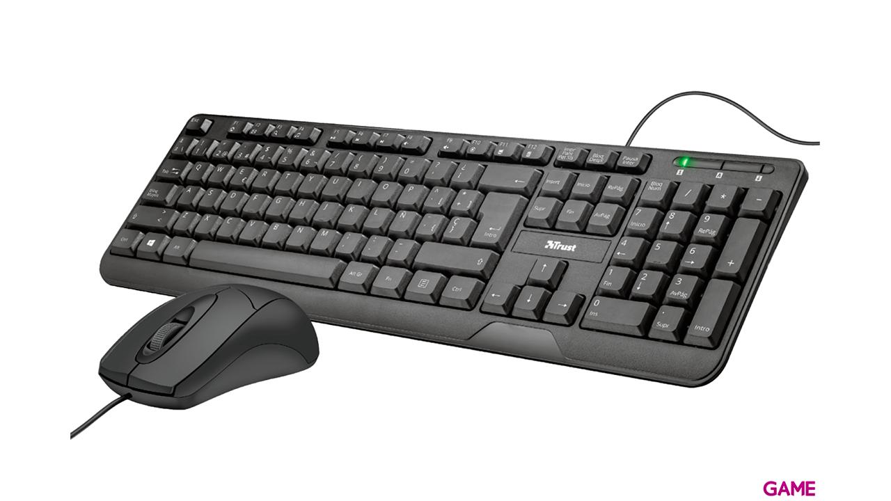 Trust Ziva teclado y ratón RF inalámbrico Español Negro - Pack Accesorios