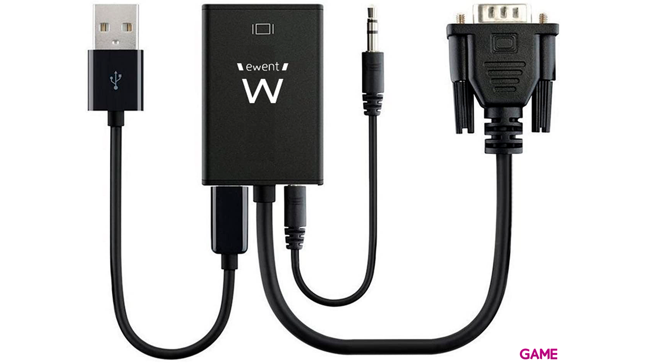 Ewent EW9866 adaptador de cable VGA-15pin HDMI, 3.5mm Negro