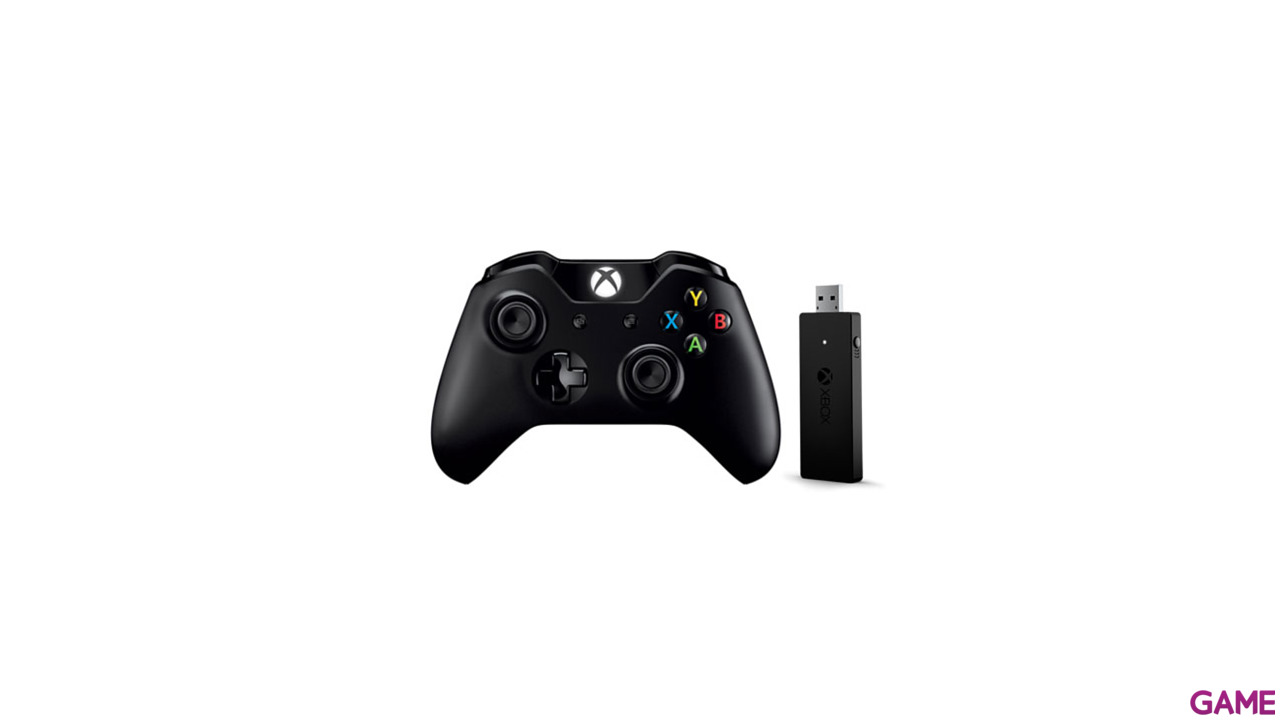Controller Inalambrico Microsoft Negro + Adaptador para mandos sin cable para Windows