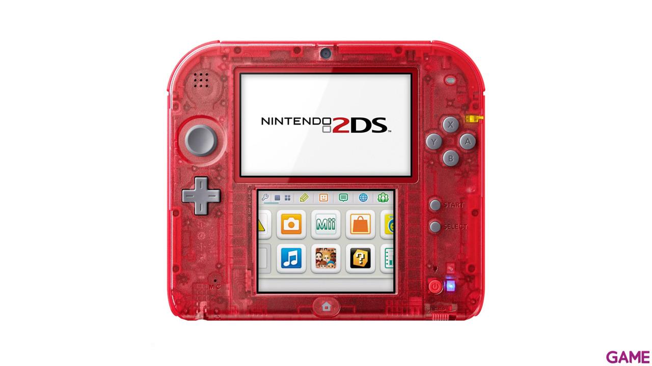 Nintendo 2DS Transparente Rojo + Pokemon Rojo (Preinstalado)