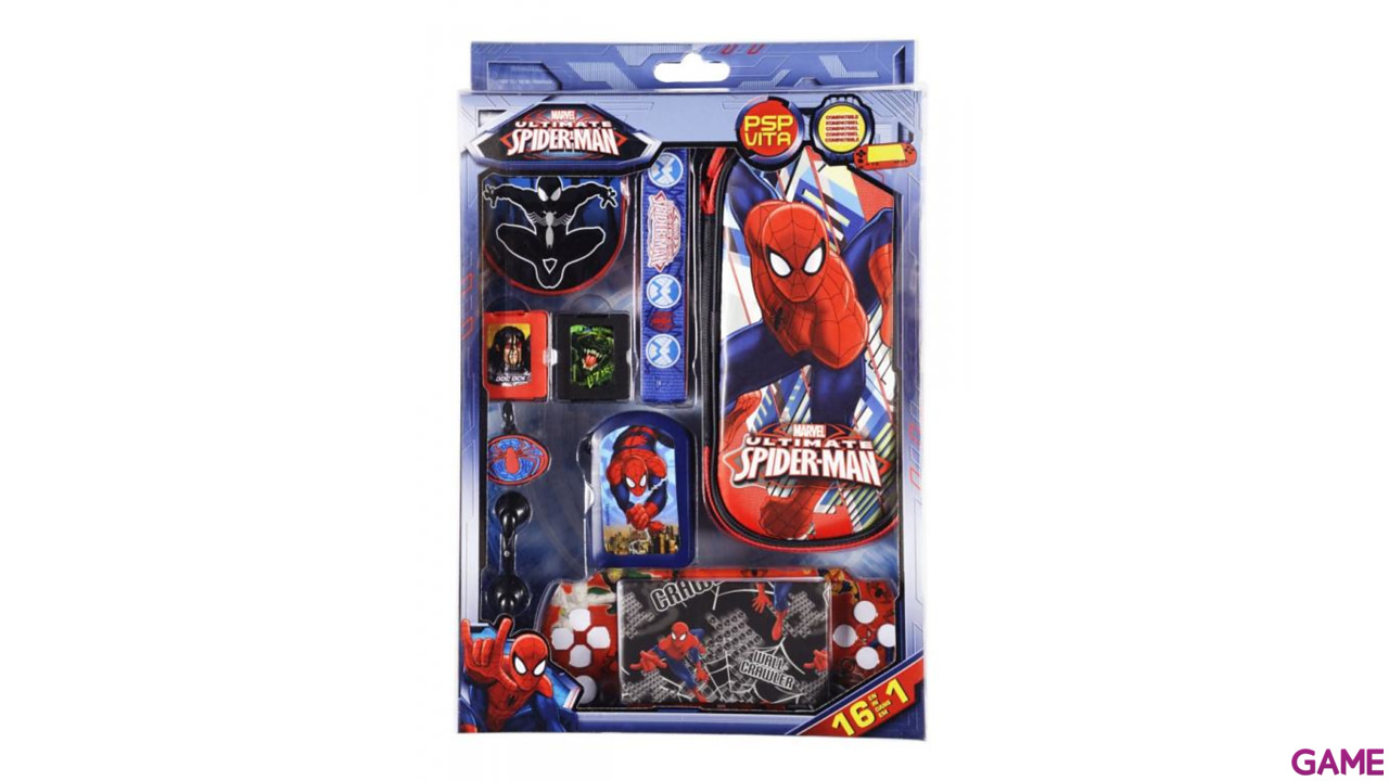 Kit Accesorios 16 en 1 Ultimate Spiderman PSP/PSV